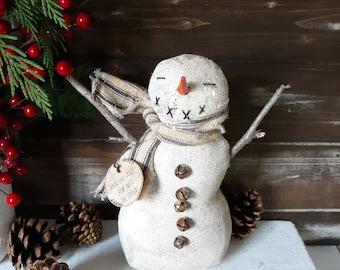 Primitive Christmas Snowman, Farmhouse Snowman, Primitive Snowman, Snowman Decoration, Snowman Mantle Decorations, Christmas Shelf Decor