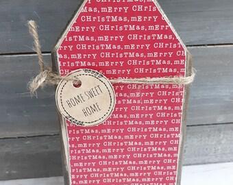 Rustic Holiday Decor, Farmhouse Christmas Wood Decor, Rustic Christmas Chunky Wood House, Rustic Farmhouse Christmas, Christmas Decor