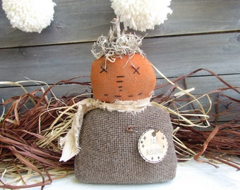 Primitive Pumpkin Fall Decor, Farmhouse Pumpkin Decor, Primitive Fall Pumpkins, Prim Pumpkin Doll, Farmhouse Home Decor, Fall Home Decor