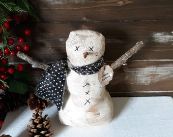 Primitive Snowman, Farmhouse Snowman, Rustic Snowman Decor, Primitive Christmas Decor, Farmhouse Christmas Decor, Christmas Snowman Decor