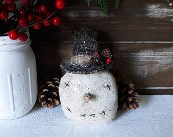 Primitive Snowman Ornament, Farmhouse Christmas Snowman, Snowman Ornament, Primitive Snowman Bowl Filler, Rustic Farmhouse Snowman