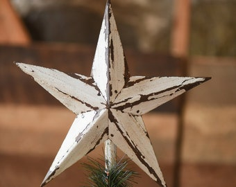 White Star Christmas Tree Topper Decoration- 12 inch star tree topper made from white reclaimed metal