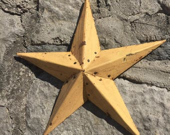 Gold Star Christmas Tree Topper Decoration- 12 inch star tree topper made from gold reclaimed metal