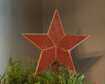 Star Topper Christmas Tree Decoration- 10 inch Christmas tree star made from red barn wood