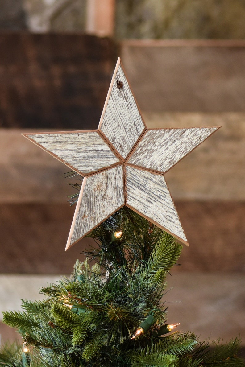 White Wooden Christmas Star Tree Topper Decoration 12 inch image 1