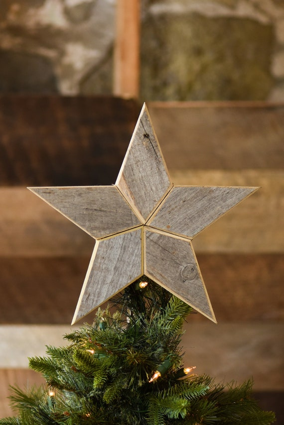 Silver Star Christmas Tree Topper Decoration- 12 inch star tree topper made  from weathered silver reclaimed barn wood - Silver Star Christmas Tree Topper Decoration 12 Inch Star Etsy