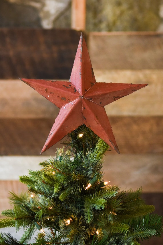 Red Star Christmas Tree Topper Decoration- 12 inch star tree topper made  from red reclaimed metal - Red Star Christmas Tree Topper Decoration 12 Inch Star Tree Etsy