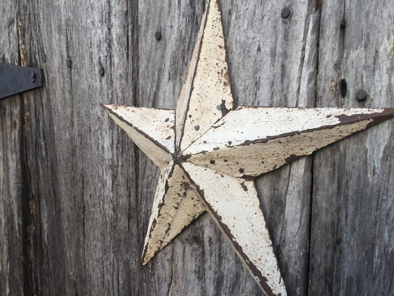 White Barn Star Decoration 12 Inch Metal Shelf Or Wall Hanging Star Made From White Reclaimed Metal