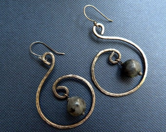 Reserved for Shelley - Namaste Falls - Sterling Silver Earrings, Hammered, Oxidized and Antiqued  with Natural Lavrikite Stones