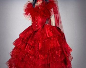 halloween wedding dress made with a red underbust corset red plutemis tulle wide skirt and red wedding veil