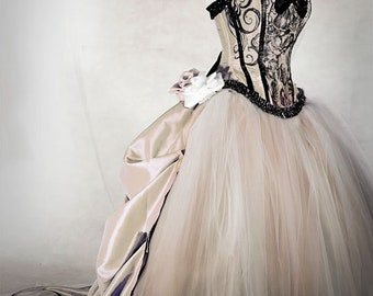 da6efb72a CHESHIRE CAT Antique Gold Wedding dress, custom order for Rebecca