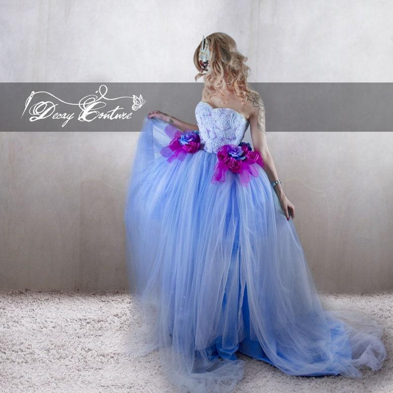 8c60ad1da82 LIGHT Blue Cinderella WEDDING DRESS in satin and tulle