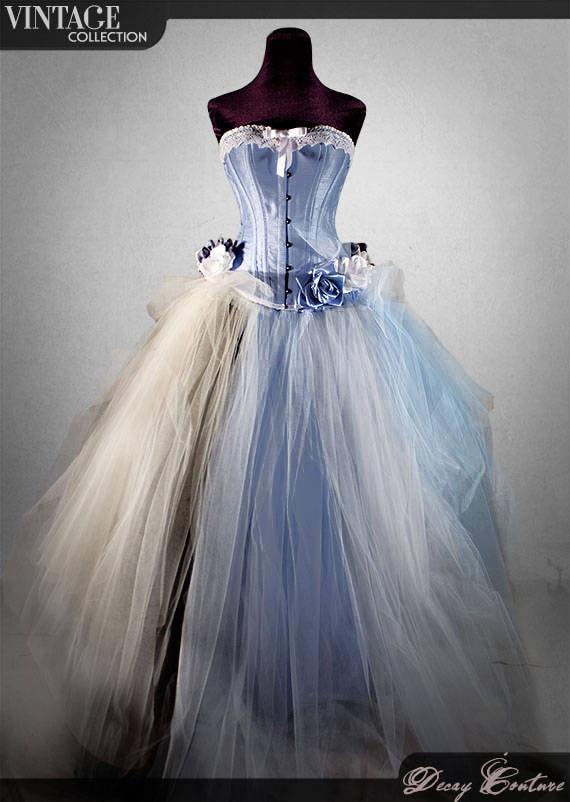 Blue Victorian Wedding Dress