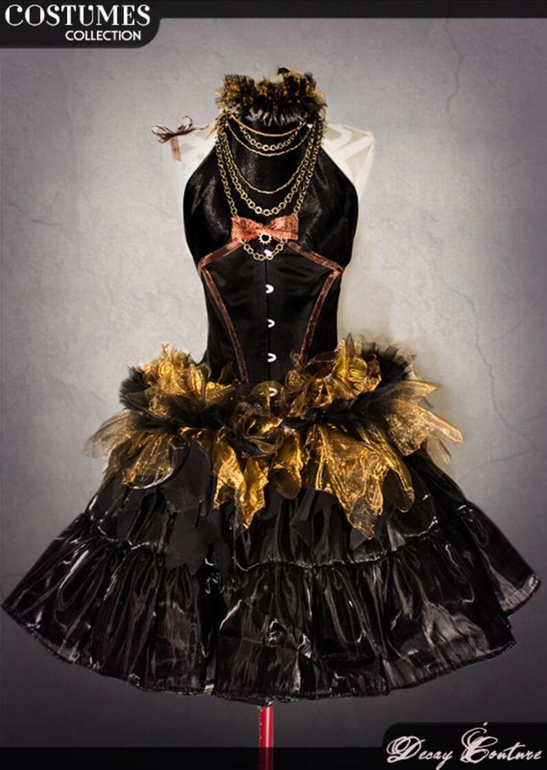 efbbdaffe8c STEAMPUNK costume prom dress with black underbust corset