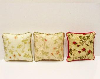Dollhouse Miniature Boy Girl Cushion Pillow Praying 1:12 Scale Handmade 2 pieces