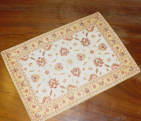 Dollhouse Persian Carpet Gold Brown Area Rug 1:12 Scale