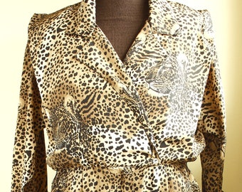 fc09a6bafd19c Vintage Cheetah/leopard Animal Print Dress Size M 70's 80's with pockets