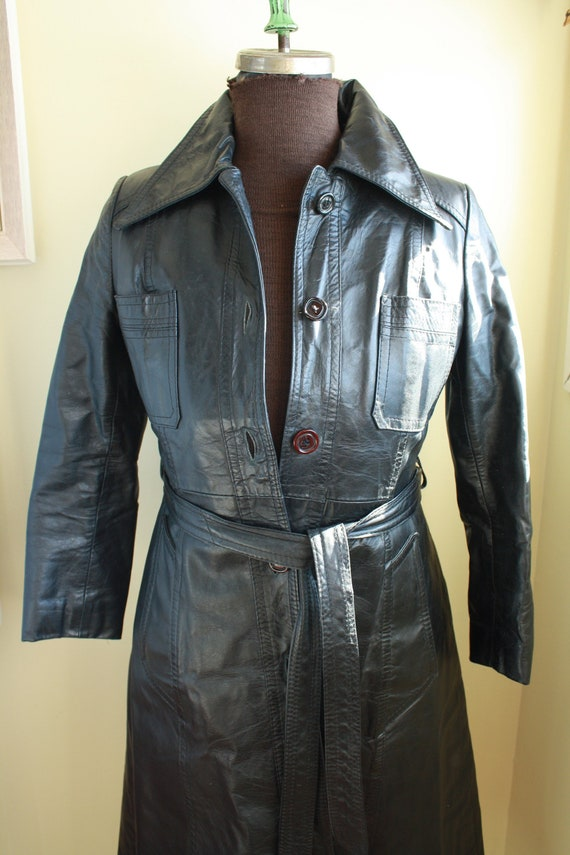 Vintage 70's LONG Black Leather lined warm OPERA C