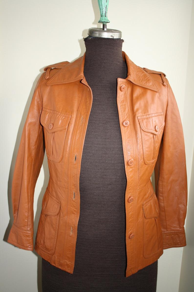 f4e18dfbe Vintage VOYAGEUR Leather jacket tobacco colour Size 9