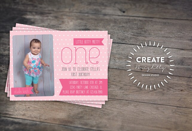 Pink First Birthday Invitation Baby Girl 1st Custom Digital Printable