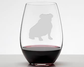 English Bulldog, Bulldog Etched Stemless Wineglass, Wine Glass