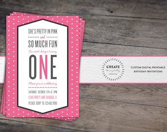Pretty In Pink First Birthday Invitation. Baby Girl. 1st Birthday. Polka Dots. Custom Digital Printable