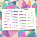 24 Happy Birthday - Rainbow Script Functional Planner Label Stickers Sampler for Color Coding