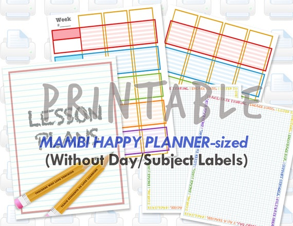 photo about Diy Planner Pages called Printable Instructor Homeschooling Planner Web pages for MAMBI Satisfied Planner - Print At Property, Do-it-yourself Planner, Electronic Obtain
