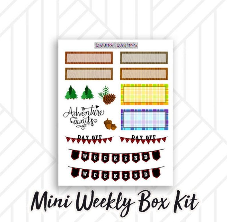 Buffalo Plaid Fall Sticker Kit for Weekly Happy Planner and image 0