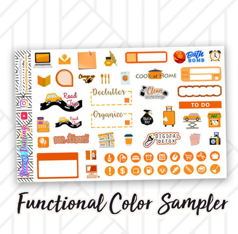 Orange Stickers for Weekly Happy Planner and Life Planner  image 0