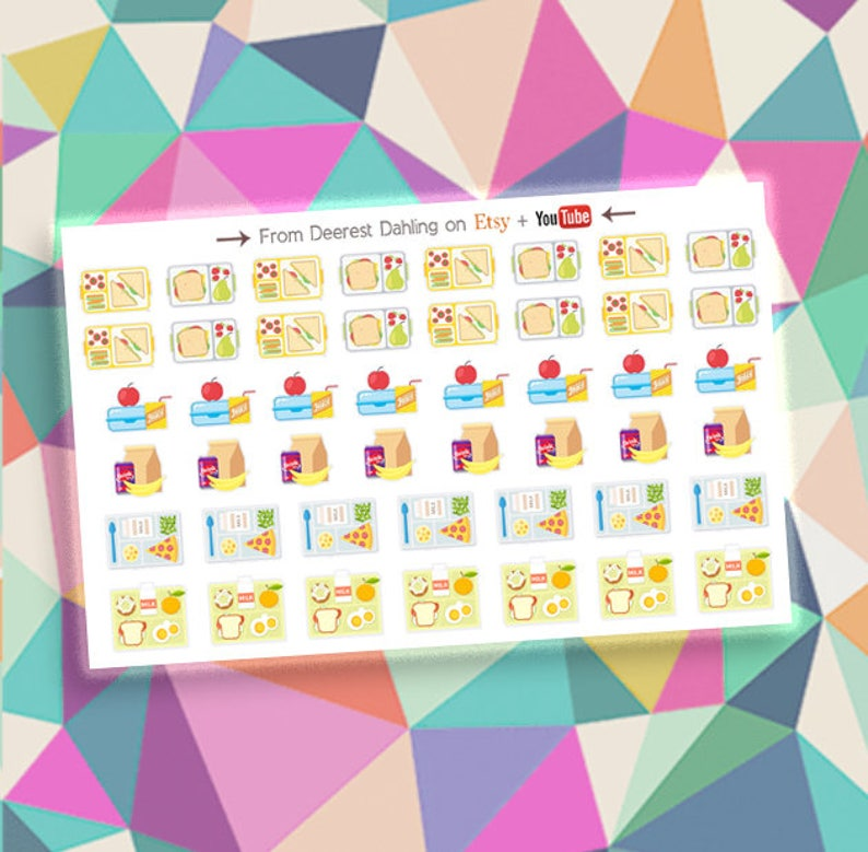 Hot Lunch Brown Bag Sticker Kit for Happy Planner and Life image 0