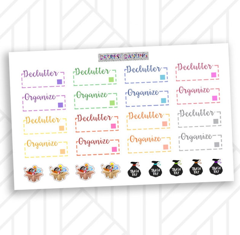 Declutter Cleaning Stickers for Happy Planner and Life Planner image 0