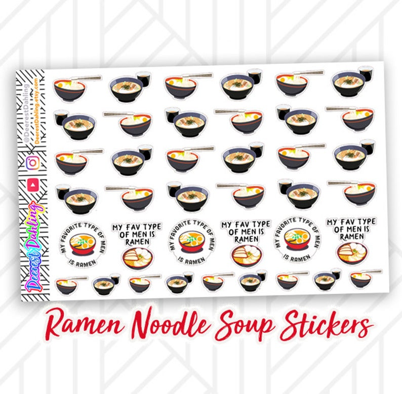 Ramen Noodle Stickers for Happy Planner and Life Planner  image 0