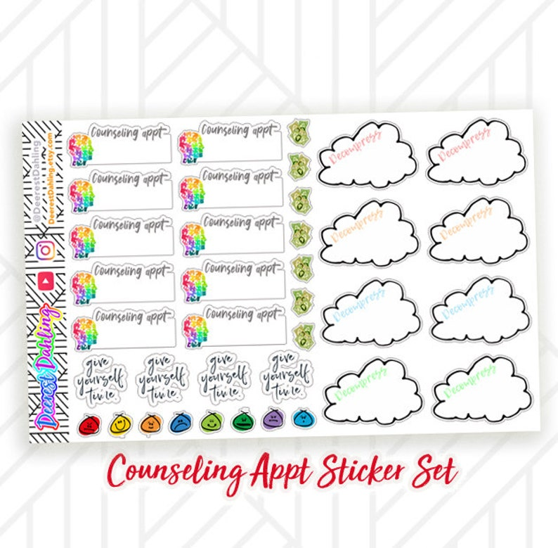 Counseling and Therapy Sticker Set for Happy Planner and Life image 0