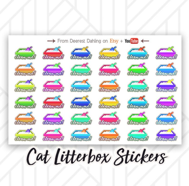 36 Cat Litter cleaning pet care stickers for planning and image 0