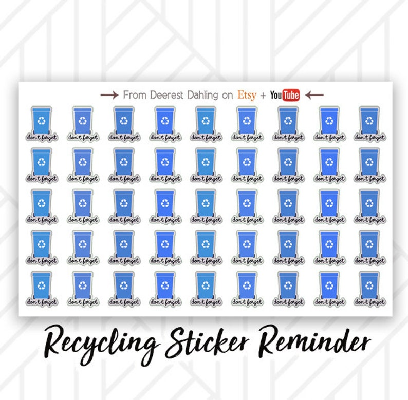 45 Recycle Bin Sticker for Happy Planner and Life Planner  image 0
