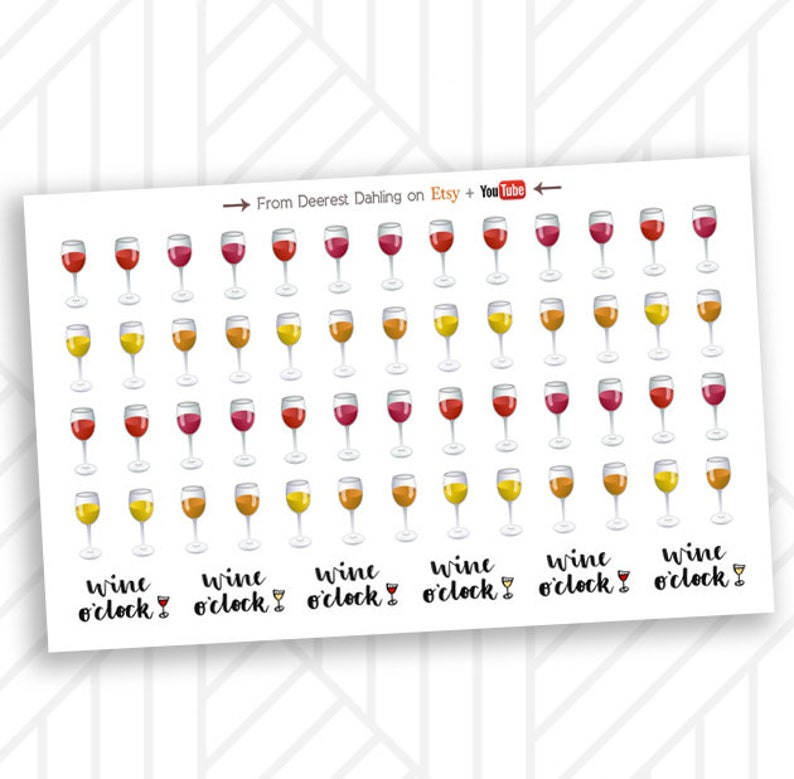 Red White Wine Sticker for Happy Planner and Life Planner  image 0