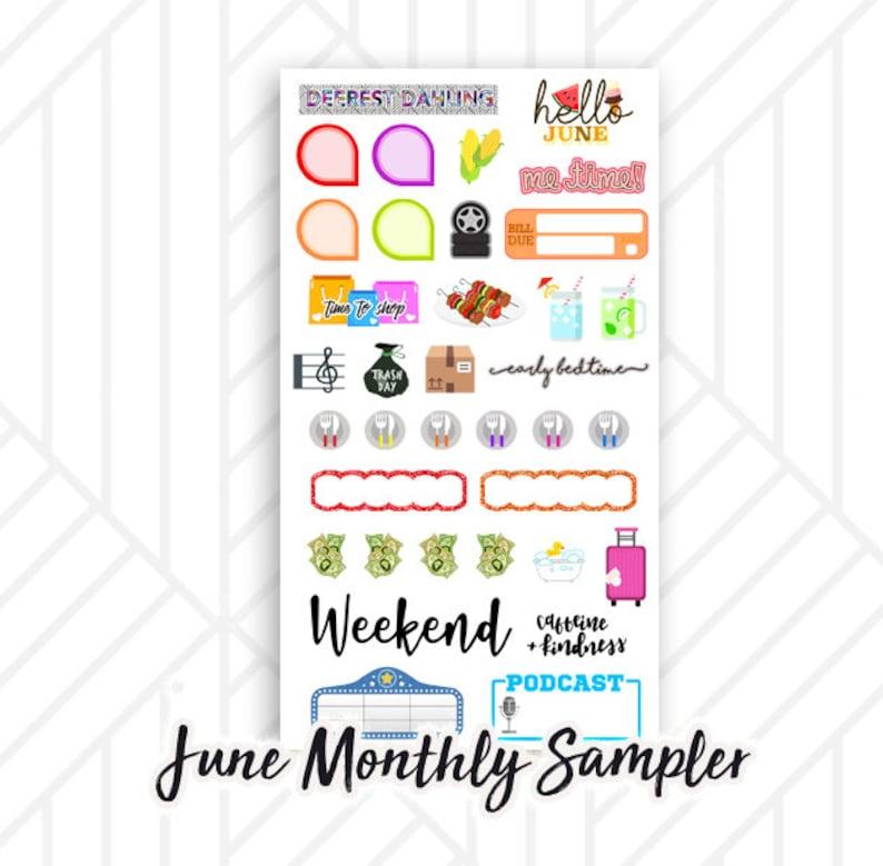 June Monthly Planner Sticker Sampler  Bill due Music Trash image 0