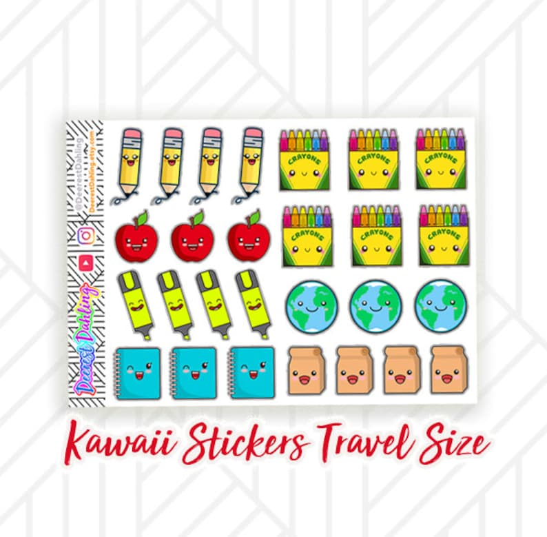 Kawaii School Stickers for Happy Planner and Life Planner image 0