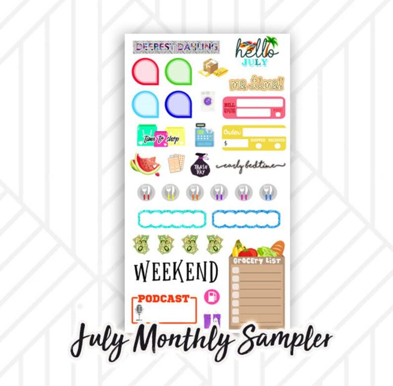 July Monthly Planner Sticker Sampler  Me time Mail tracker image 0