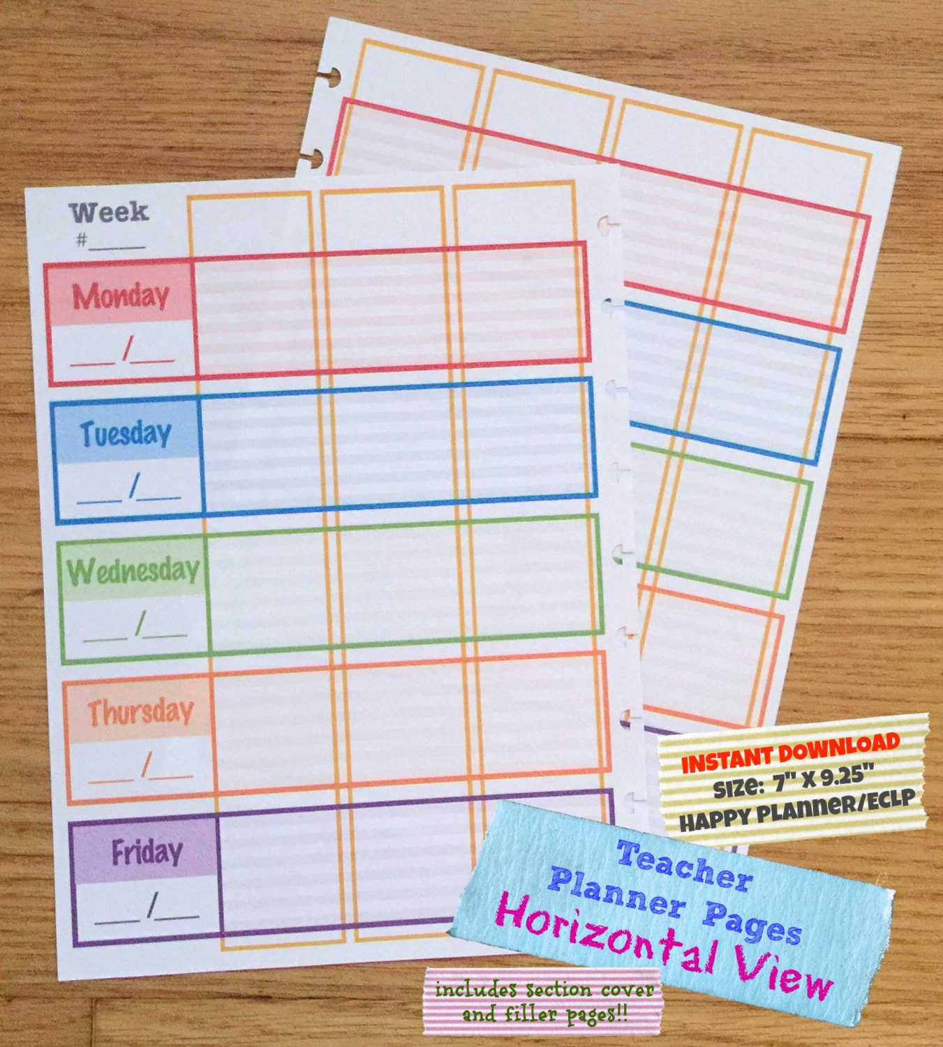 Bright image with printable teacher planner