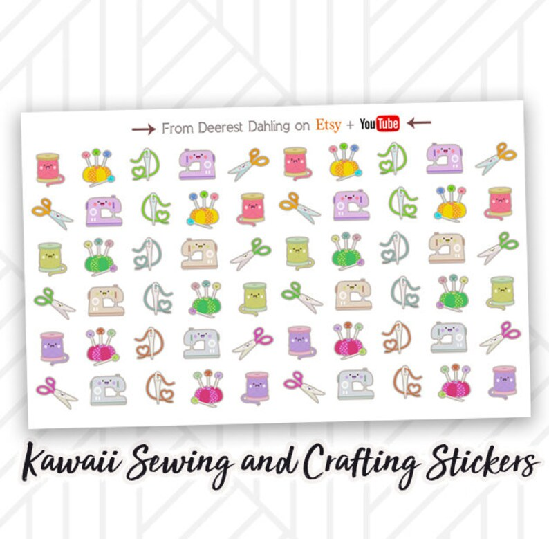 Kawaii Sewing Sticker for Happy Planner and Life Planner  image 0