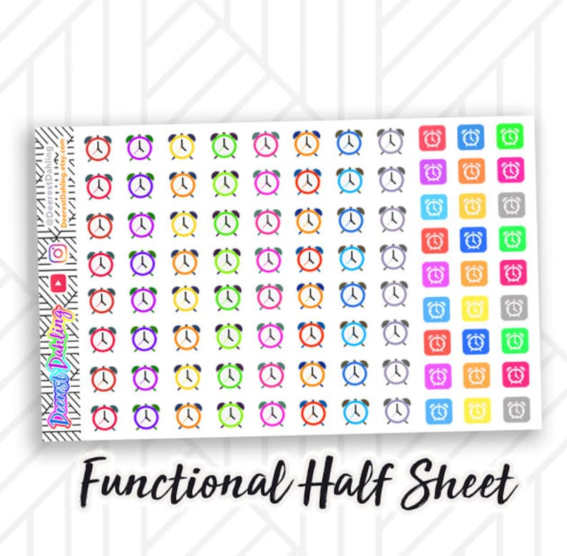 91 Clock Stickers for Planner and Calendar  Fits Happy image 0