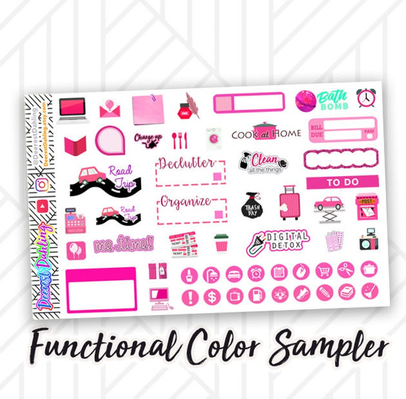Pink Rose Stickers for Weekly Happy Planner and Life Planner  image 0