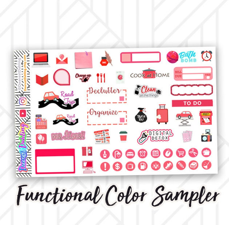 Red Stickers for Happy Planner and Life Planner  Half box image 0