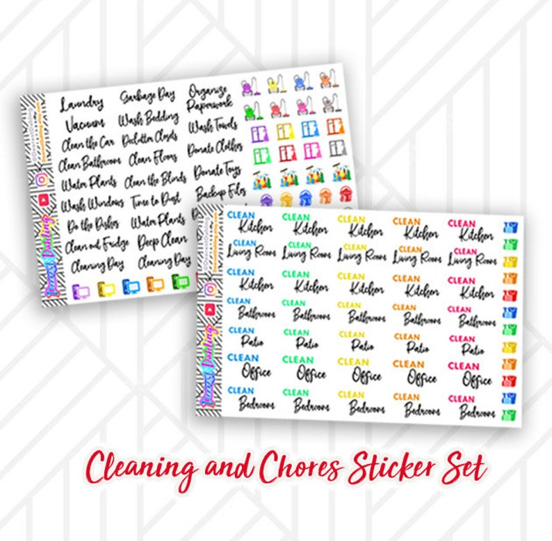 Script Cleaning Chore Set for Happy Planner and Life Planner  image 0