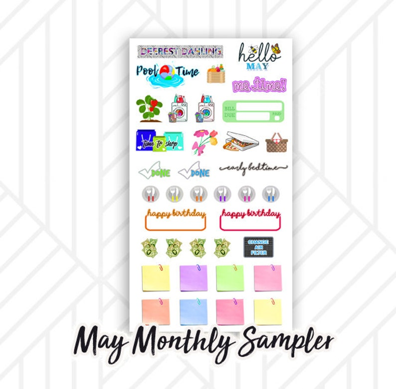 May Monthly Planner Sticker Sampler  Pool time Sticky notes image 0