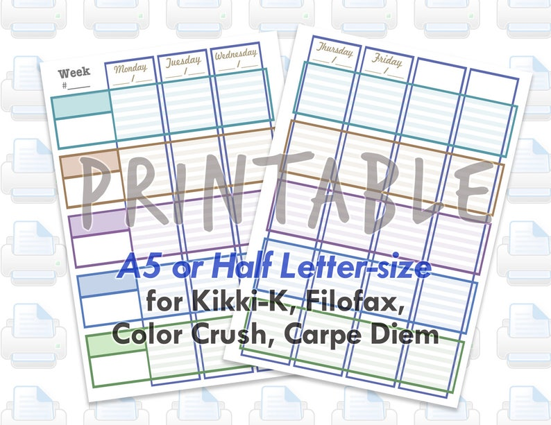 PRINTABLE A5 Half Letter Teacher Lesson Weekly Planner image 0