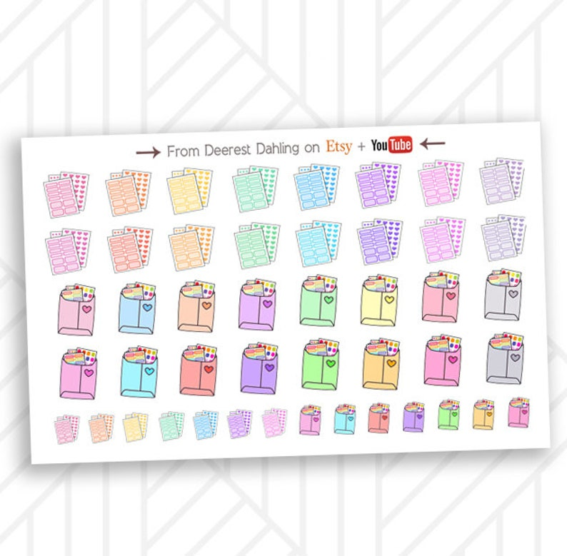 Planner Stickers in mailer and sticker stack for color coding image 0