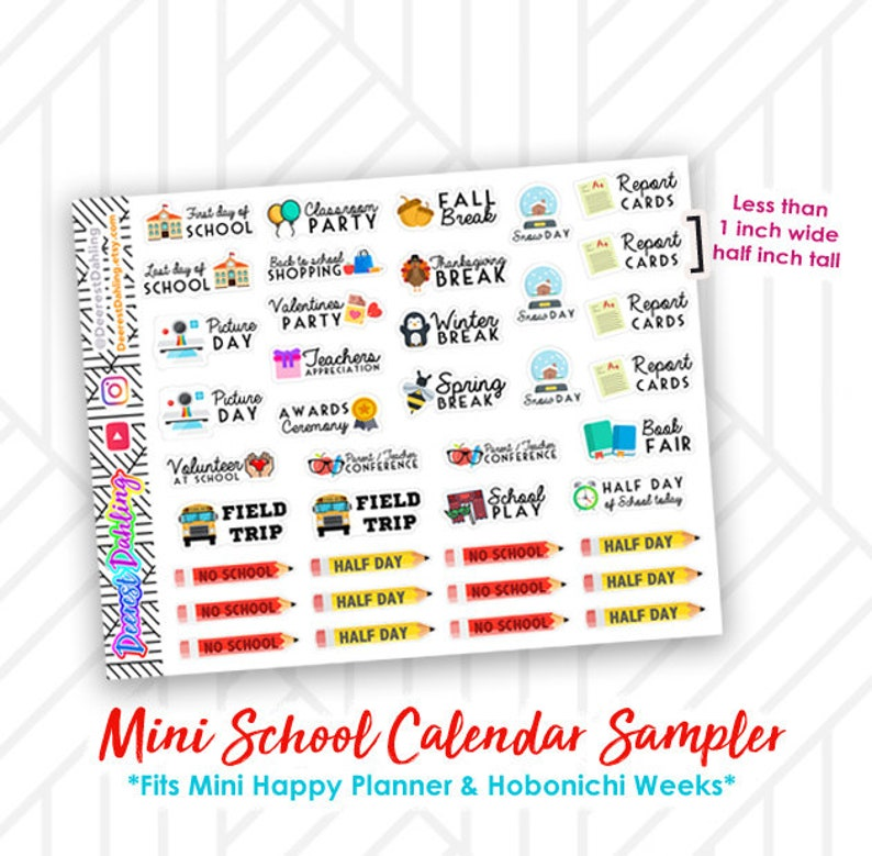 School Sticker Kit Mini Happy Planner and Hobonichi Planner  image 0